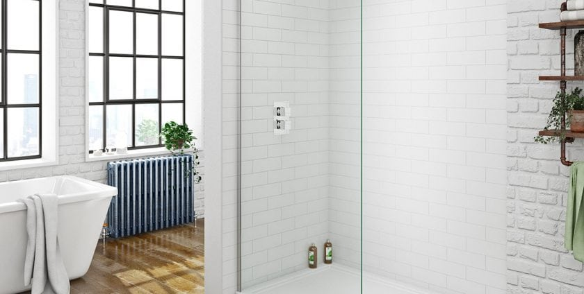 bright bathroom with glass shower